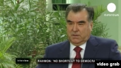 "Tajikistan -- Emomali Rahmon, the president of Tajikistan on ""Euronews"" channel, 31Mar2012"