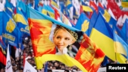Участники акции в поддержку евроинтеграции Украины размахивают флагом с изображением Юлии Тимошенко. Киев, 24 ноября 2013 года.