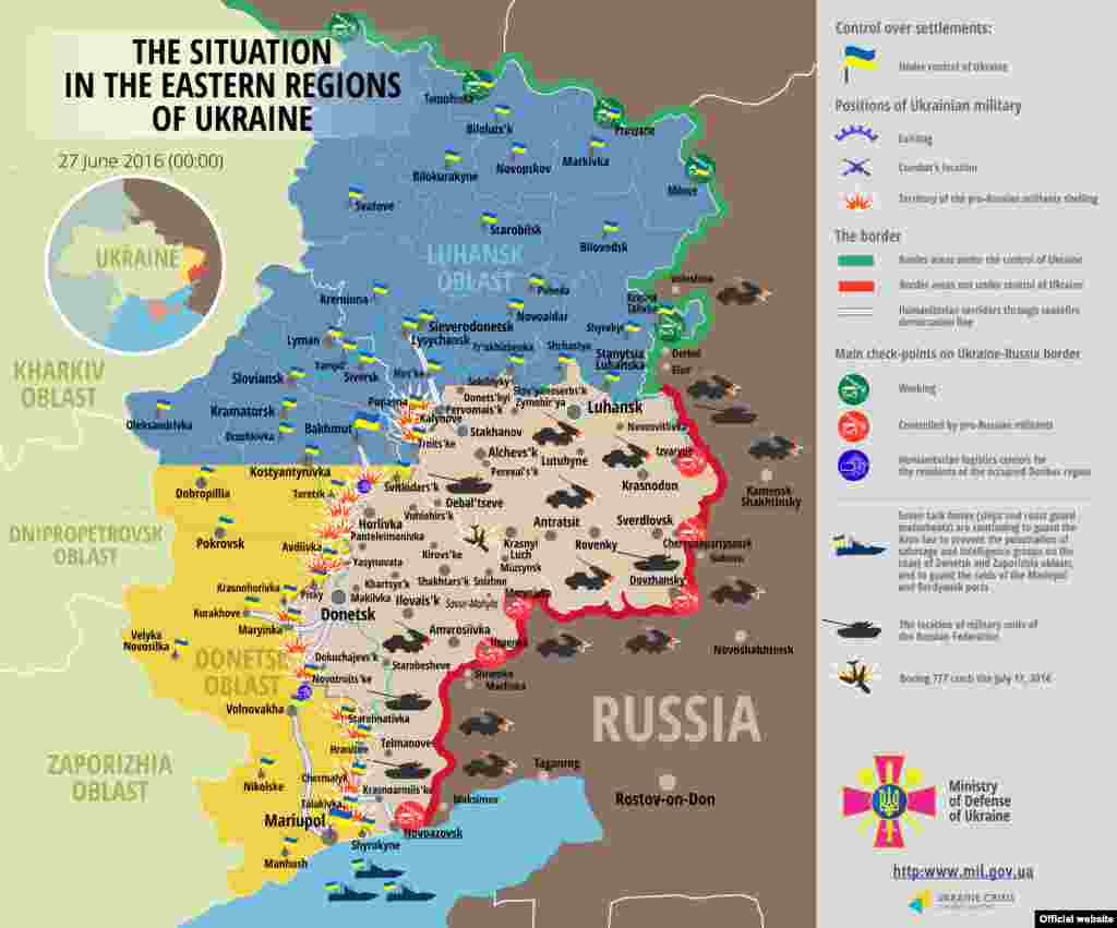 Ukraine -- ENGLISH Map: The situation in a combat zone at Donbas, 27Jun2016