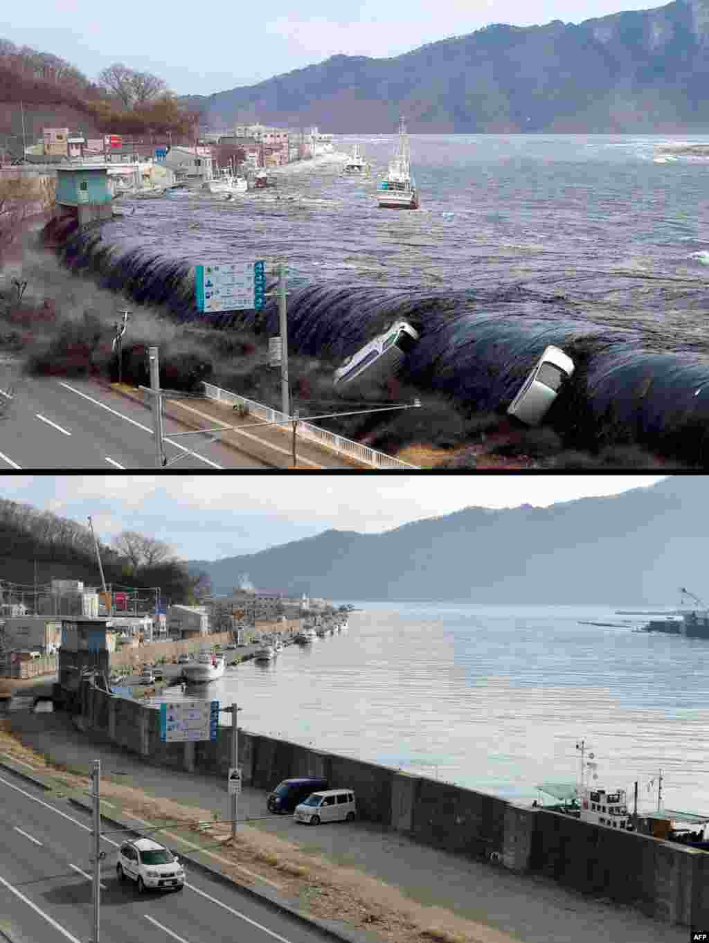 On top, an image taken by a Miyako city official on March 11, 2011, of the tsunami breeching an embankment and flowing into the city of Miyako in Iwate Prefecture, and below, the same area on January 16, 2012