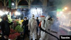 Spraying disinfectant for coronavirus at historical Tajrish vegetable market in northern Tehran, Iran. March 6, 2020.