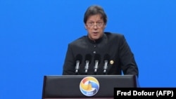 Pakistani Prime Minister Imran Khan speaks during the opening ceremony of the Belt and Road Forum in Beijing on April 26.