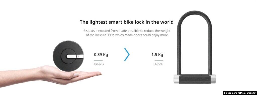 Розумний замок для велосипеда Команда південнокорейських розробників представила новий замок для велосипедів. Відтепер його власник може не нагинатися, щоб до чогось пристебнути свій транспортний засіб – маленький девайс просто блокує переднє колесо за допомогою додатку на телефоні. Цей пристрій важить менше, ніж півкіло, та має сигналізацію в сто децибел. У разі викрадення велосипеда – додаток на телефоні повідомить вас про це.