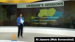 Al-Jazeera shows a map of Ukraine divided between a largely Ukrainian-speaking west and a predominantly Russian-speaking east.
