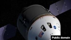 На картинке изображен концепт будущего космического корабля Орион. NASA