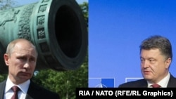 Фотоколлаж: президент России Владимир Путин и президент Украины Петр Порошенко (справа).