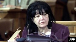 Mirjana Markovic during a session in the parliament in Belgrade in July 2001