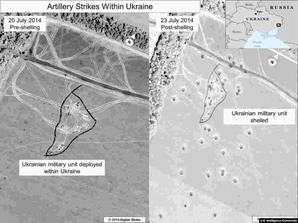 Artillery Strikes Within Ukraine #2. Information from the U.S. Director of National Intelligence: This is a before and after close-up of the artillery strike depicted in the lower portion of the inset in the previous graphic.