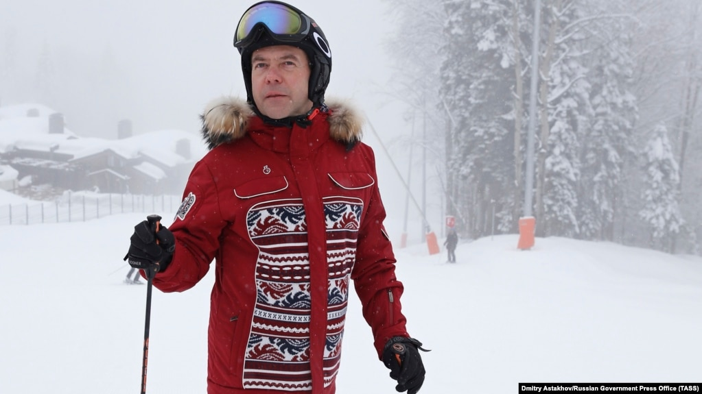 The news that Russian Prime Minister Dmitry Medvedev was skiing while mass protests were being held in the country has sparked a reaction on social media. (file photo)