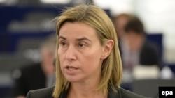 Federica Mogherini vorbind la sesiunea plenară a Parlamentului European, Strasbourg, 11 martie 2015.
