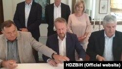Slijeva nadesno: bh. političari - Milorad Dodik, Bakir Izetbegović i Dragan Čović