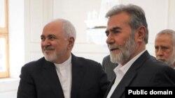 زیاد نخاله، دبیرکل جنبش جهاد اسلامی فسطین در کنار محمدجواد ظریف، وزیر امورخارجه ایران