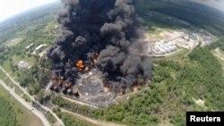 Пожежа на нафтобазі на Київщині, 9 червня 2015 року (аерозйомка)