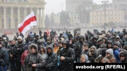 The unsanctioned rally was the largest protest in recent years in Belarus, where the authoritarian government has shown little tolerance for dissent.
