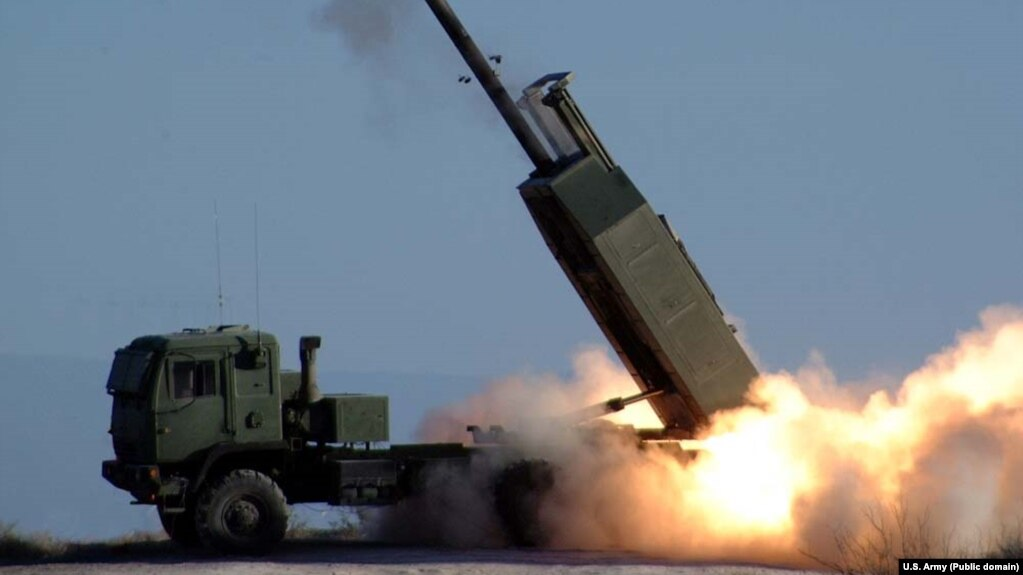The M142 high-mobility artillery rocket system is a U.S. light multiple-rocket launcher mounted on a standard army medium-tactical-vehicle truck frame.