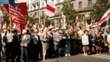 Belarus - participants of the rally in honor of Victory Day in Minsk. 1994, archive photo.