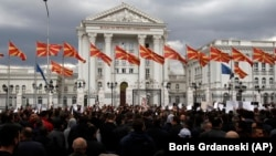 The protest took place outside the government building in Skopje on March 21.