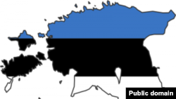 Estonia -- map, flag