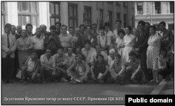 Делегація кримських татар біля Приймальної ЦК, 1987 рік