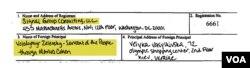 Витяг із подання Signal Group Consulting, LLC до Мін'юсту США