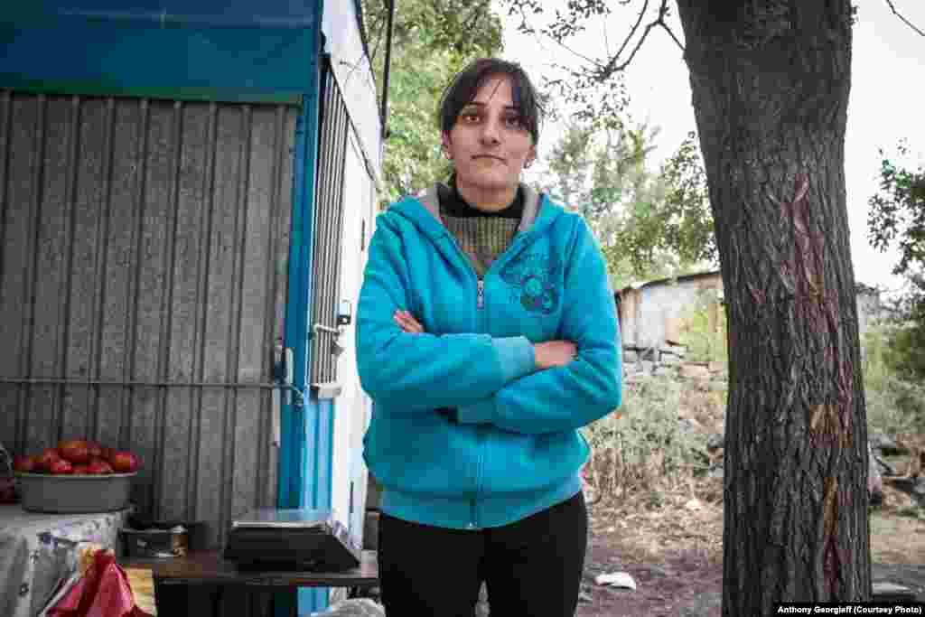 A resident of a shantytown in Gyumri