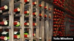 Wine bottles in Chateau Vitalny in Orhei