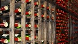 Wine bottles in Chateau Vitalny in Orhei