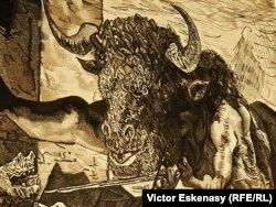 Minotaurul, detaliu al unei tapiserii după un desen al lui Picasso în expoziția de la Evian