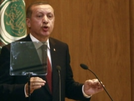 Turkish Prime Minister Recep Tayyip Erdogan speaks in Cairo