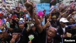 Бангкоктегі қаржы министрлігі алдындағы наразылық шеруі. Таиланд, 26 қараша 2013 жыл.