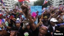Акция протеста у здания правительства Таиланда.