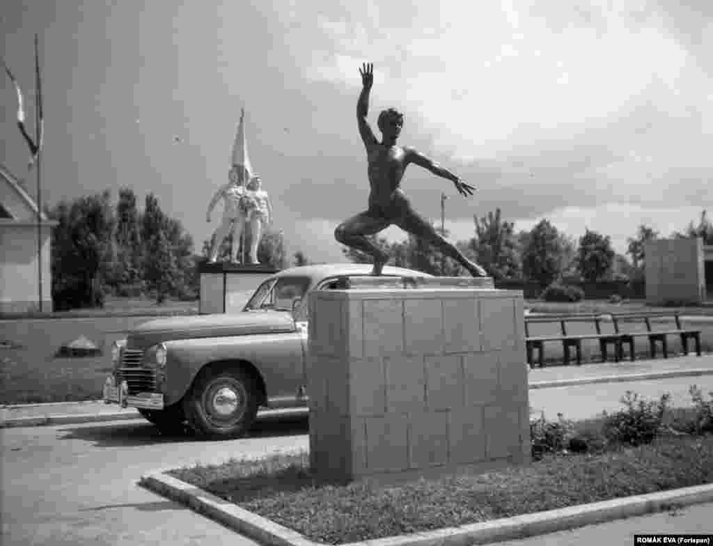 Socialist-realist statues in Bucharest photographed in 1957. Romania was ruled by a communist dictatorship after the country was occupied by the Soviet Red Army.