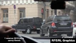 1 жовтня «Схеми» зафіксували, як цей же кортеж Хорошковського прямував в напрямку Офісу президента
