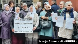 Members of a genocide victims and witnesses association protest in front of the Swedish Embassy in Sarajevo against the Nobel award to writer Peter Handke.