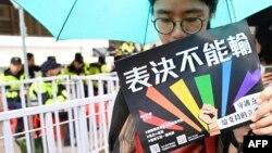 Тисячі захисників прав геїв зібралися в столиці Тайваню, Тайбеї, 17 травня, де очікували на рішення