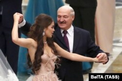 Марына Васілевіч танчыць з Аляксандрам Лукашэнкам, 2018 год