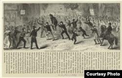 """""""Знаменитый бунт из-за виски в Пенсильвании"""". Гравюра 1880 года. Из собрания Нью-Йоркской публичной библиотеки."""