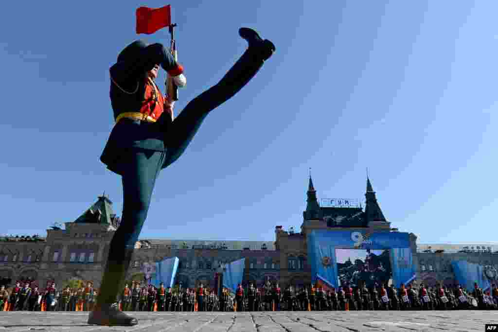 An honor guard from the Presidential Regiment marches during Victory Day celebrations on Moscow's Red Square.