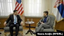 Pre sastanka sa Vučićem, Mičel se sastao sa premijerkom Anom Brnabić