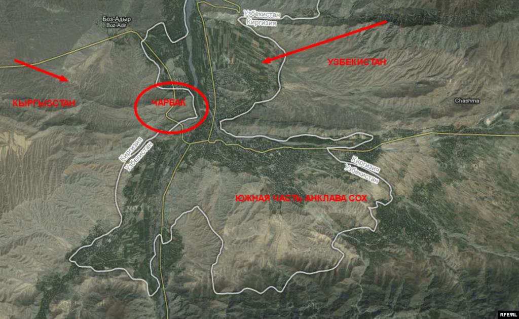 Карта южной части узбекского анклава Сох, где 6 января 2013 года были взяты в заложники десятки граждан Кыргызстана.