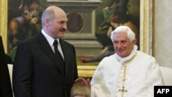 Belarusian President Alyaksandr Lukashenka and his 5-year-old son, Mikalay, meet with Pope Benedict XVI in the Vatican on April 27.