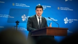 Ukrainian President Volodymyr Zelenskiy delivers a speech during a forum titled Age Of Crimea in Kyiv on February 26.