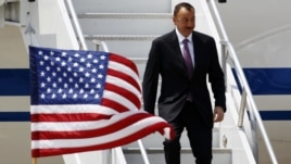 U.S. -- Azerbaijan's President Ilham Aliyev arrives at O'Hare International Airport before the start of the NATO summit in Chicago, 19May2012