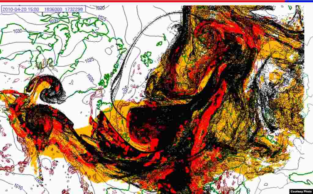 Projected spread of Icelandic ash cloud (20.4. 1500 UTC) - These images show a projection of the movement of the ash clouds from the Iceland volcanic eruption moving over Europe. The colors on the map represent: yellow: ash that has fallen by itself red: ash that has fallen by precipitation black: the actual ash cloud Source: Norwegian Meteorological Institute