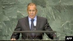 Sergei Lavrov speaks at the Millennium Development Goals summit.
