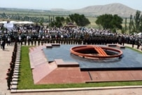 Funeral services for Chingiz Aitmatov at Ata-Beyit Memorial Complex