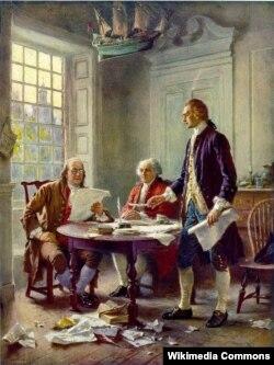 ABŞ Müstəqillik Bəyannaməsinin layihəsi üzərində iş, Thomas Jefferson (sağda), Benjamin Franklin (solda) və John Adams (ortada), rəssam Jean Leon Gerome Ferris (1863–1930)