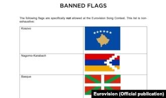 """Zabranjene zastave"", dio saopštenja Evrovizije, april 2016."