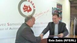 Potpisivanje sporazuma o ujedinjenju sindikalnih središnjica, Zagreb, 19. travnja 2012.