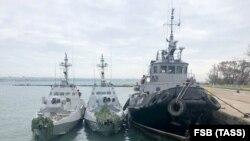 Navele ucrainene capturate au fost ancorate în portul Kerci. 25 noiembrie 2018